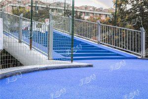 钢板人行天桥铺设彩色陶瓷颗粒防滑路面